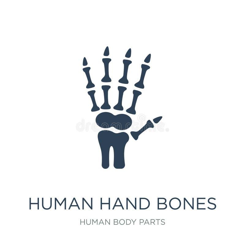 ludzka ręk kości ikona w modnym projekta stylu ludzka ręk kości ikona odizolowywająca na białym tle ludzka ręk kości wektoru ikon ilustracja wektor