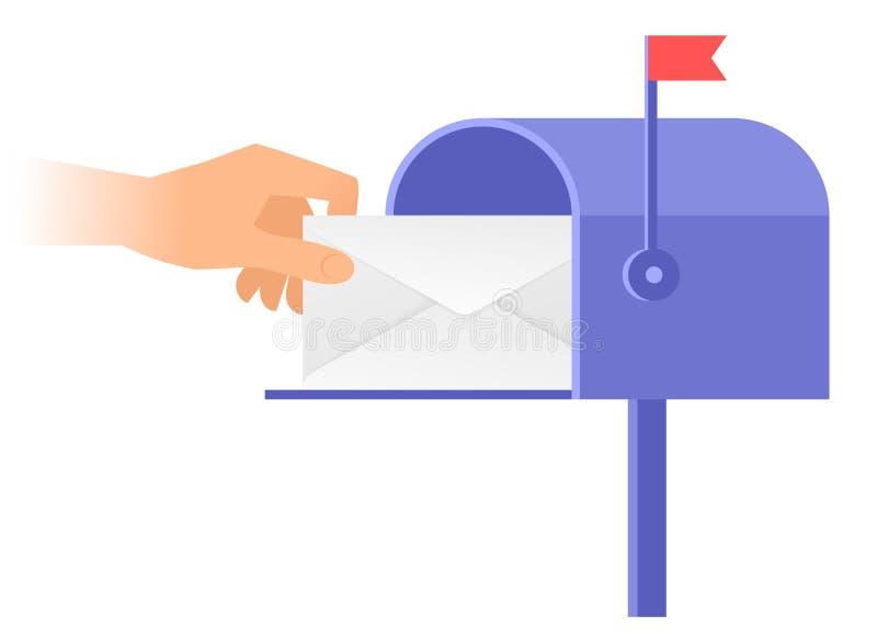 Ludzka ręka bierze out kopertę od postbox ilustracji