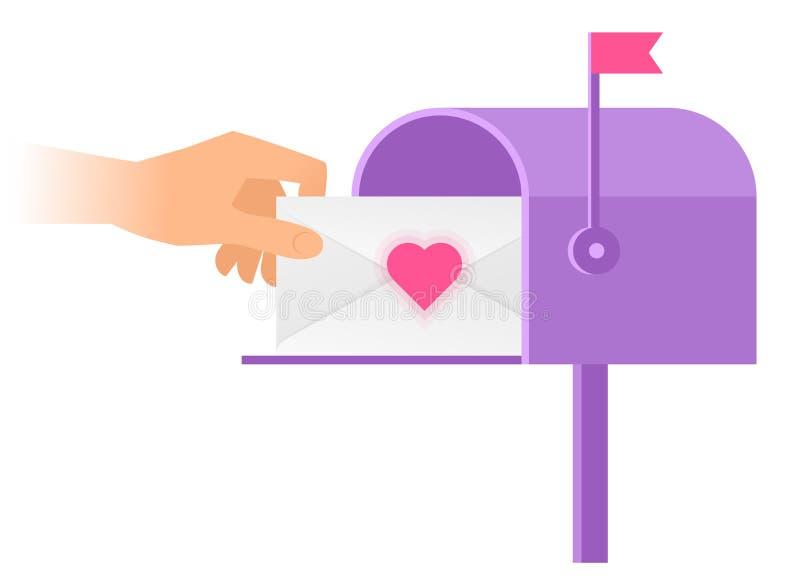 Ludzka ręka bierze out kopertę od skrzynki pocztowa ilustracja wektor