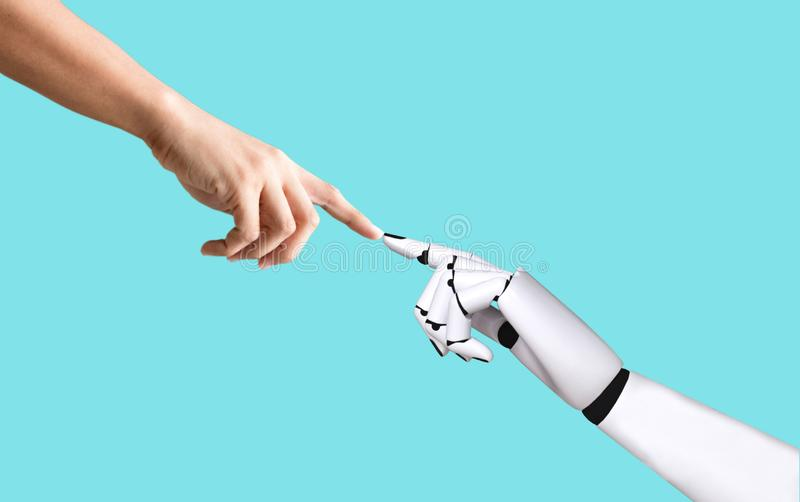 Ludzka ręka i robot wręczamy systemu pojęcia integrację i koordynację sztuczna inteligencja zdjęcia stock