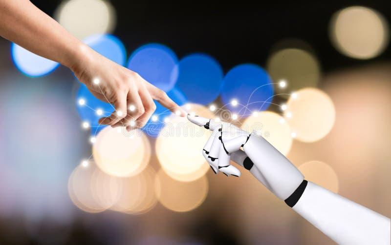 Ludzka ręka i robot wręczamy systemu pojęcia integrację i koordynację sztuczna inteligencja zdjęcie stock