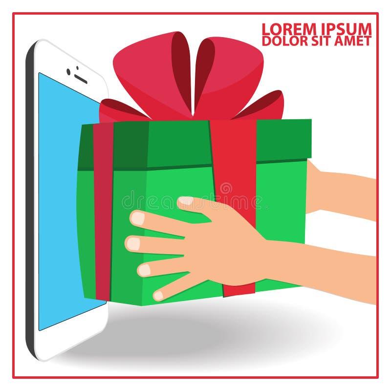 Ludzka ręka otrzymywa prezenta pudełko ilustracji