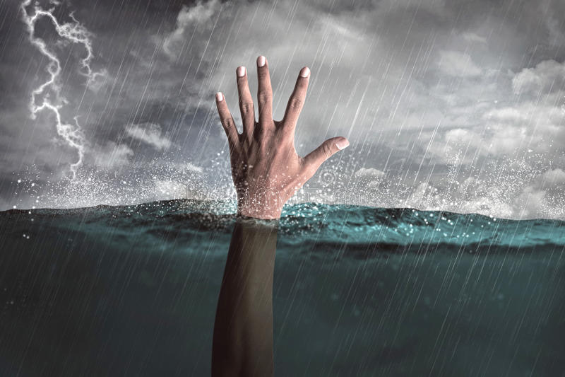 Ludzka ręka out od wody obrazy royalty free