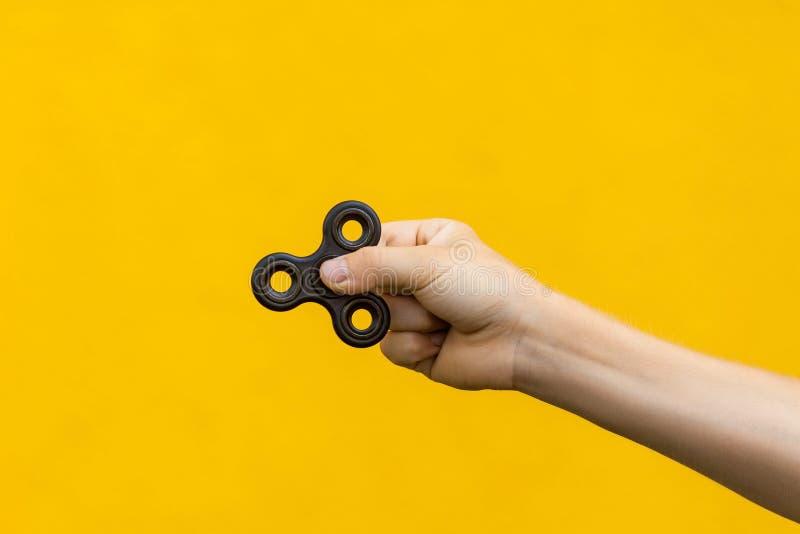 Ludzka ręka trzyma czarnego wiercipięta kądziołka zdjęcia royalty free