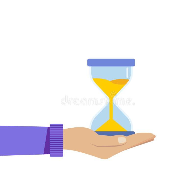 Ludzka ręka trzyma hourglass Biznesu i czasu zarządzania pojęcie Odosobniona wektorowa ilustracja f ilustracji