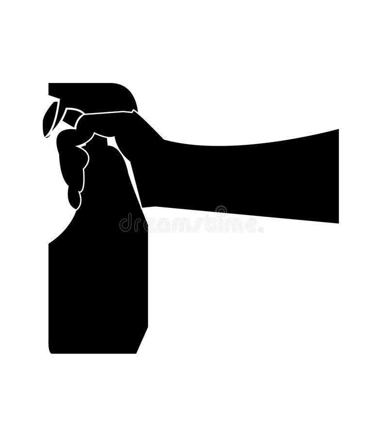 Ludzka ręka trzyma kiści butelkę ilustracja wektor