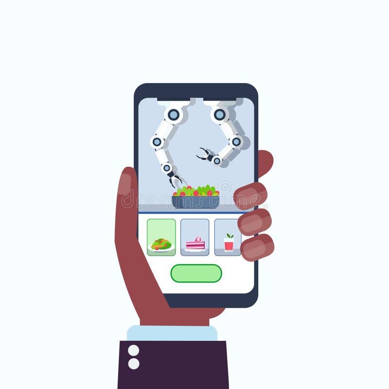 Ludzka ręka używać mobilnej podaniowej mądrze przydatnej szefa kuchni robota kulinarnej porcji karmową kuchenną pomocniczą mechan ilustracji