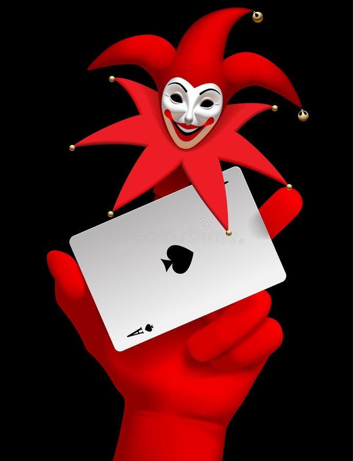 Ludzka ręka z czerwoną uśmiechającą się joker głową na palcowym trzyma ac ilustracja wektor