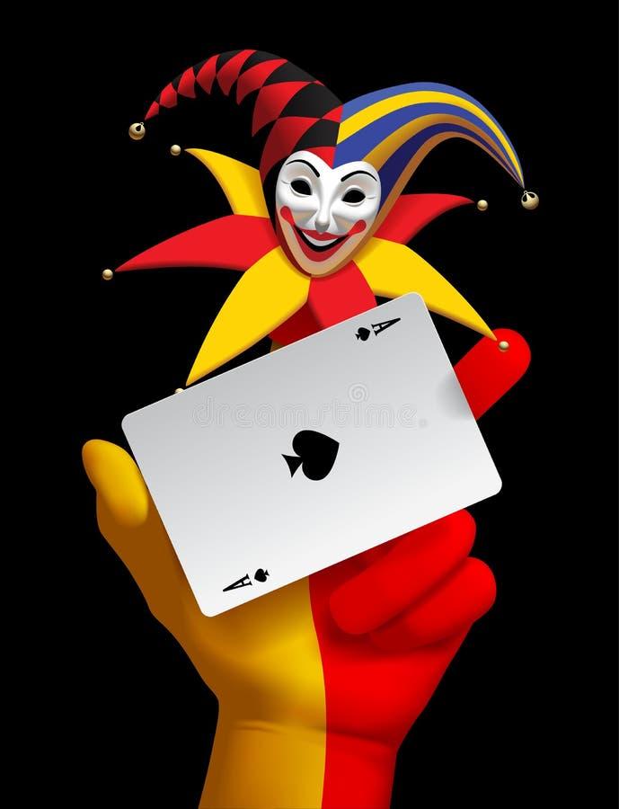 Ludzka ręka z joker głową uśmiechającym się as rydle bawić się ca i ilustracja wektor