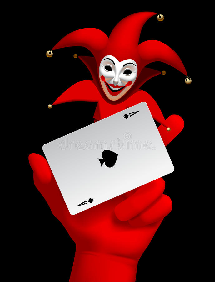Ludzka ręka z joker głową uśmiechającym się as rydle bawić się ca i ilustracji