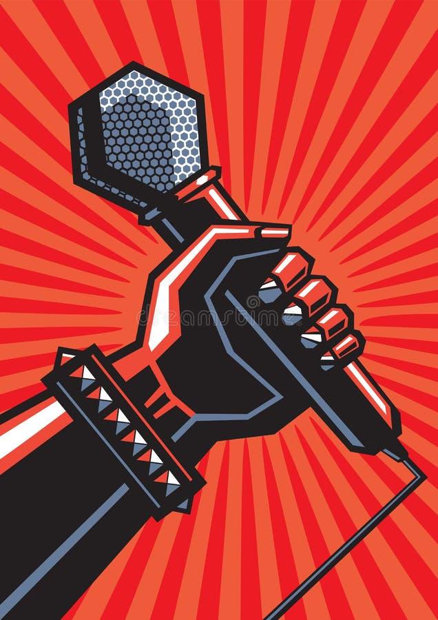 Ludzka ręka z mikrofonem ilustracja wektor