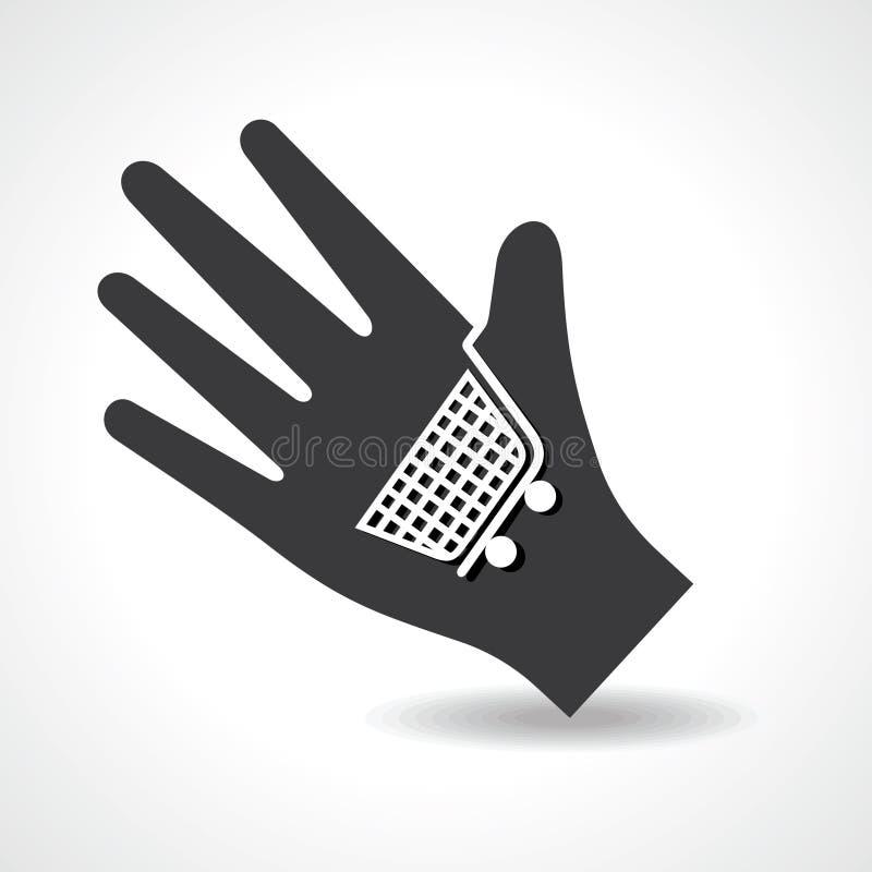 Ludzka ręka z wózek na zakupy symbolu pojęciem ilustracja wektor