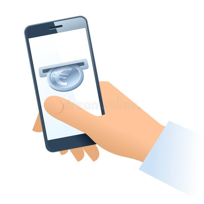Ludzka ręki, telefonu komórkowego i srebra euro moneta, royalty ilustracja