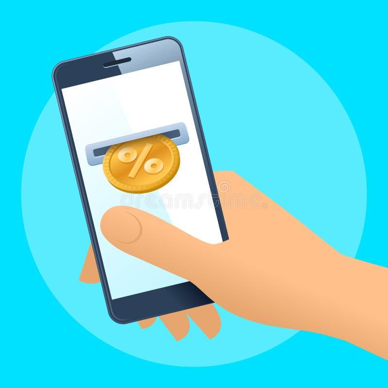 Ludzka ręki, telefonu komórkowego i złota procentu moneta, ilustracji