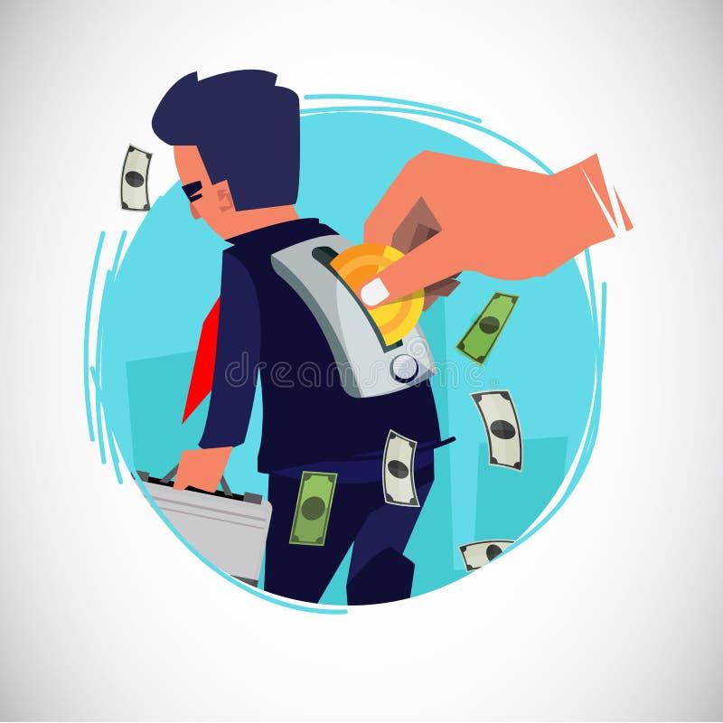 Ludzka ręki wszywki moneta biznesmen jak zabawka pracuje dla pieniądze lub płaci pensyjnego pojęcie - wektorowa ilustracja ilustracji