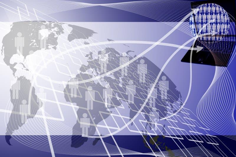 Ludzka sieć wysyła laptop. ilustracja wektor