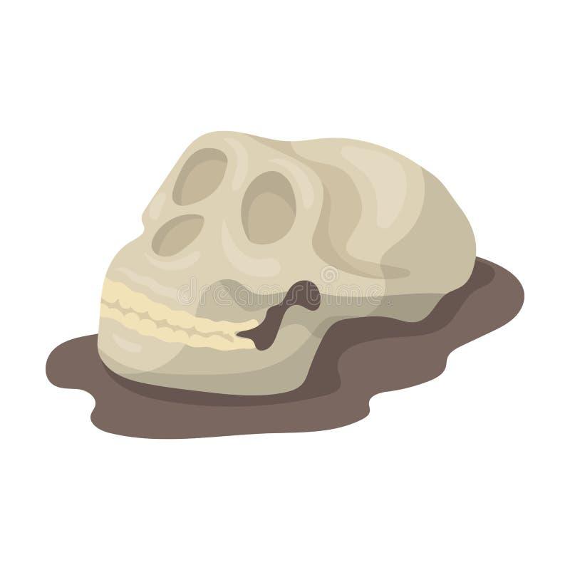 Ludzka skamieliny ikona w kreskówka stylu odizolowywającym na białym tle Dinosaury i prehistoryczny symbolu zapasu wektor royalty ilustracja