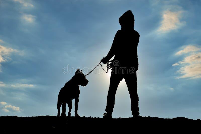 Ludzka sylwetka chodzi jego psiego obrazy stock