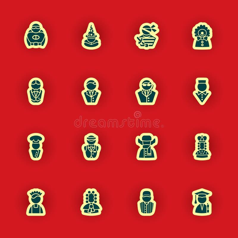 Ludzka sylwetki ikona ustawiająca odizolowywającą na czerwieni royalty ilustracja