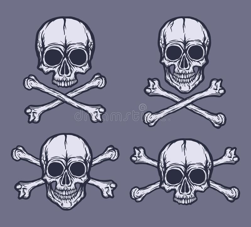 Ludzki czaszka wektoru set Ręki rysować czarny i biały wektorowe czaszki ilustracja wektor