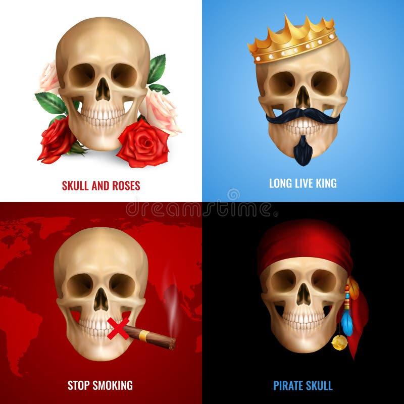 Ludzki czaszki 2x2 projekta pojęcie royalty ilustracja