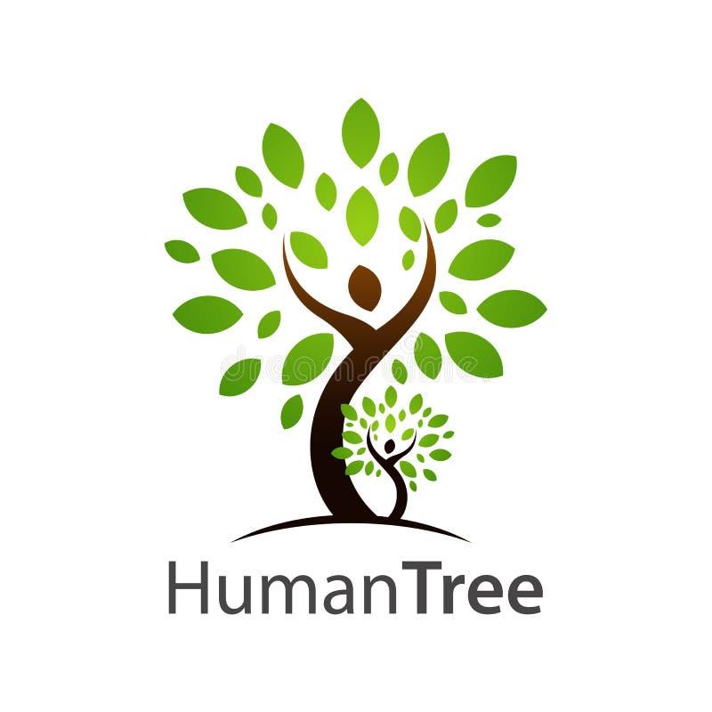 Ludzki drzewny logo pojęcia projekt Symbolu szablonu graficzny element ilustracja wektor