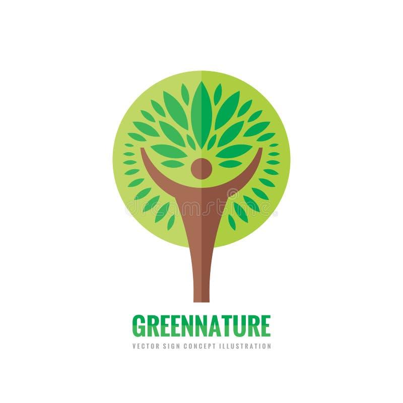 Ludzki drzewo - wektorowy loga szablon Ekologia znak Natura symbol Eco ikona ludzki charakter Ludzie insygni elementy projektu po royalty ilustracja