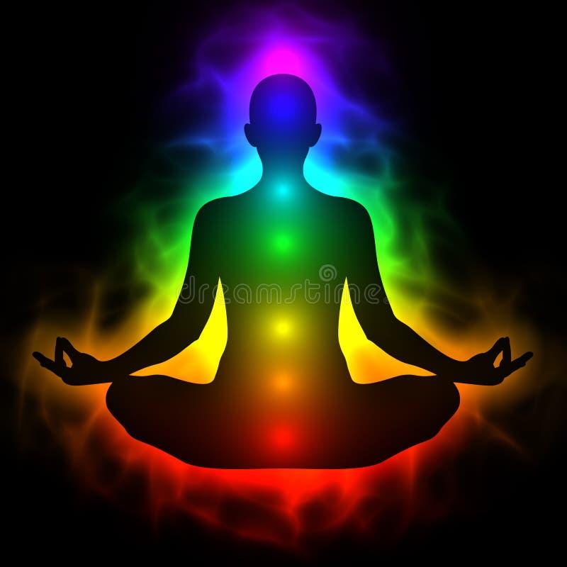 Ludzki energetyczny ciało, aura, chakra w medytaci ilustracja wektor