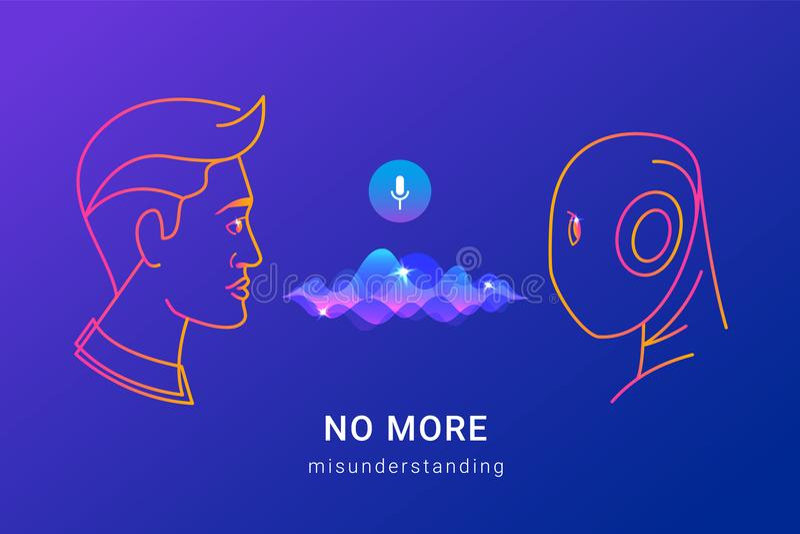 Ludzki głosu rozpoznanie i mądrze pomoc ilustracja wektor