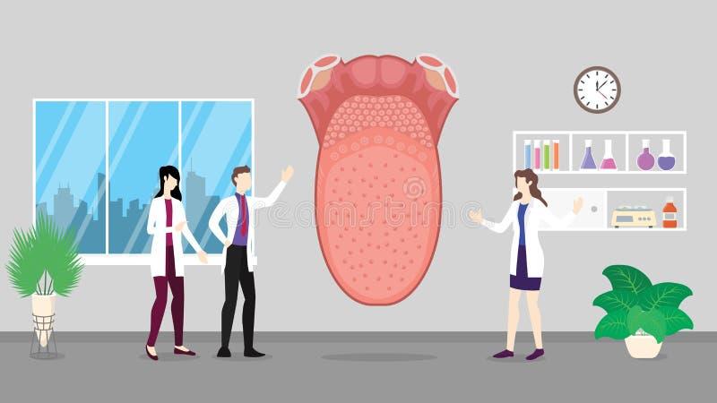 Ludzki jęzor opieki zdrowotnej checkup analizy identyfikowanie doktorskimi ludźmi na szpitalu - wektor royalty ilustracja