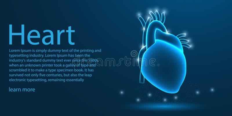 Ludzki Kierowy medyczny organ niski poli- drut ramy tematu pojęcie na błękitnym tle ilustracja ilustracja wektor