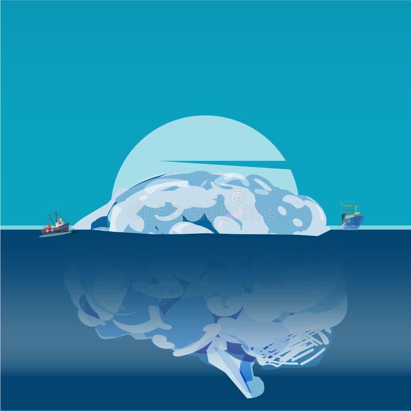 Ludzki mózg jako góra lodowa, móżdżkowy ` s chujący potencjalny pojęcie - vecto ilustracja wektor