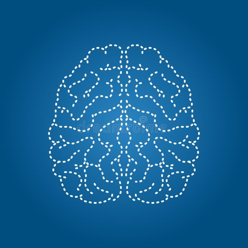 Ludzki m?zg nowo?ytna ikona Uk?adu nerwowego organ ilustracji