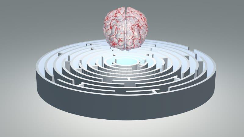 Ludzki Mózg Unosi się nad Kółkowy labirynt ilustracja wektor