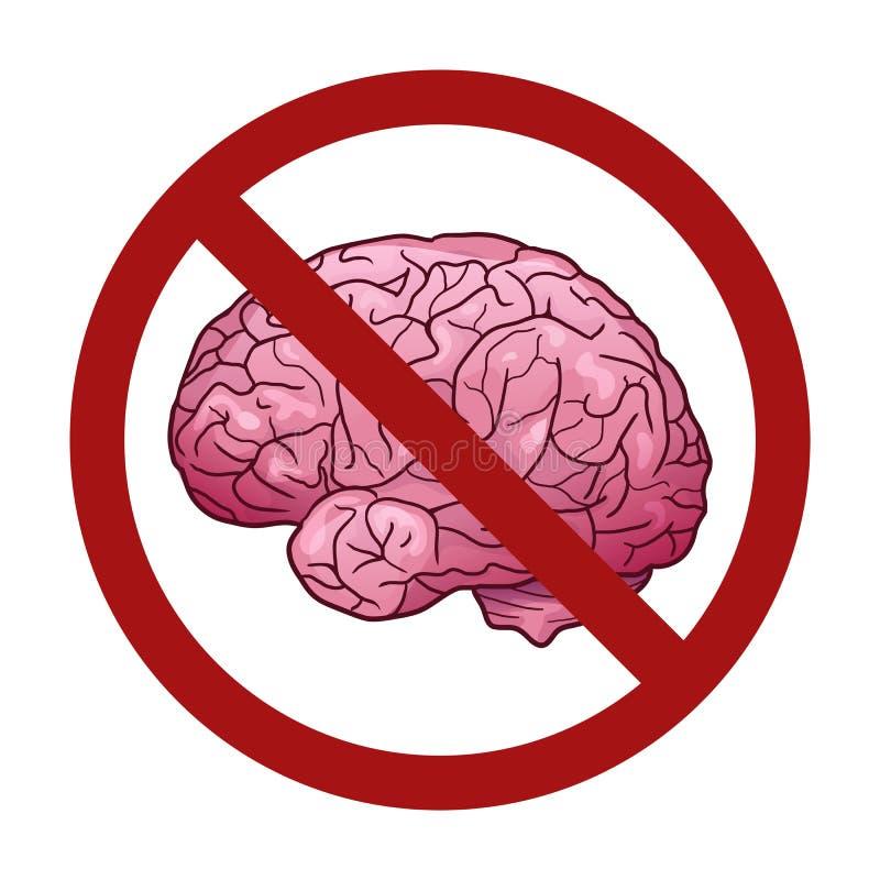 Ludzki mózg w kreskówka stylu w prohibicja znaku Zakaz na myślach Odrzucenie wiedza ilustracja wektor