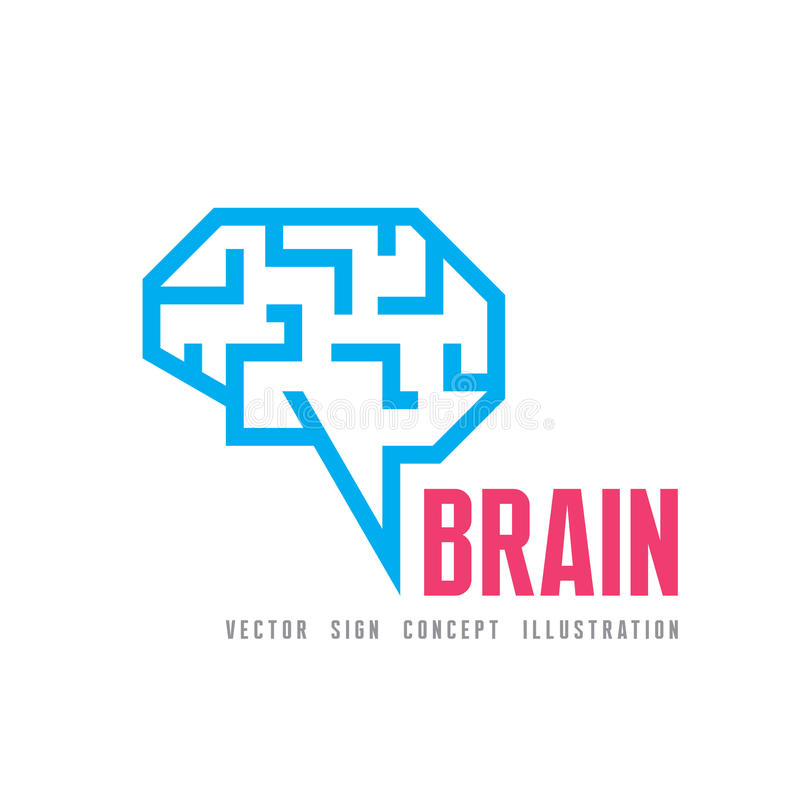 Ludzki mózg - wektorowa loga szablonu pojęcia ilustracja Geometryczny umysł struktury znak Kreatywnie pomysłu symbol ilustracji