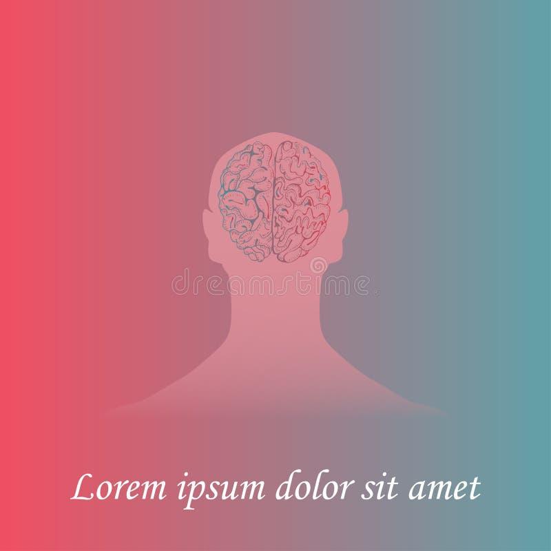 Ludzki Mózg wewnątrz Obsługuje sylwetkę ilustracja wektor