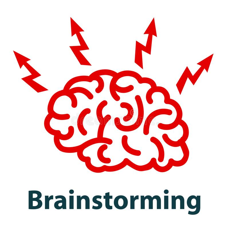 Ludzki mózg z błyskawicą, brainstorming pojęcie - royalty ilustracja