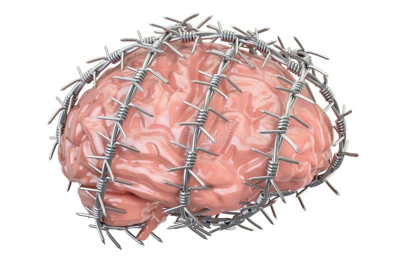 Ludzki Mózg z drutem kolczastym Wolność myśli prohibici przeciw ilustracja wektor
