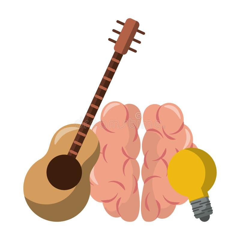 Ludzki mózg z gitary i żarówki światłem ilustracji