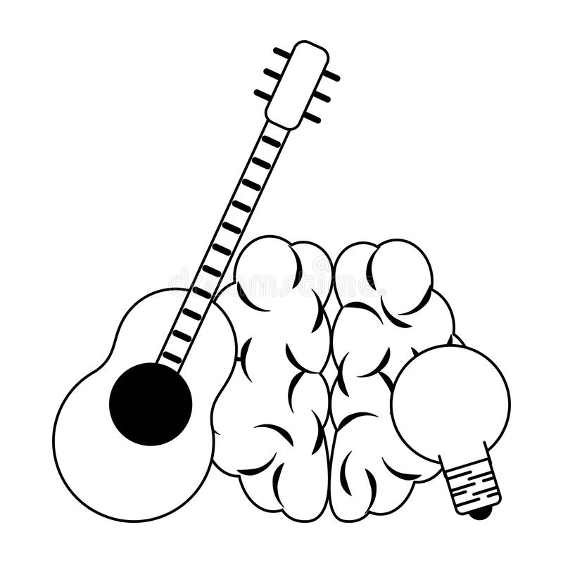 Ludzki m?zg z gitary i ?ar?wki ?wiat?em w czarny i bia?y ilustracji