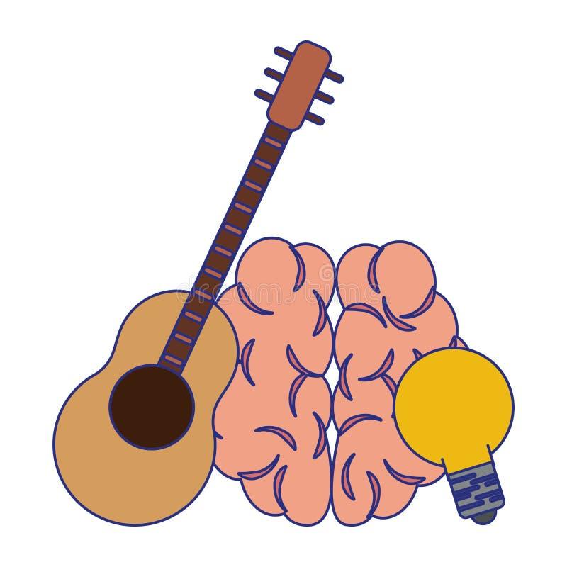 Ludzki m?zg z gitary i ?ar?wki b?awymi liniami ilustracja wektor