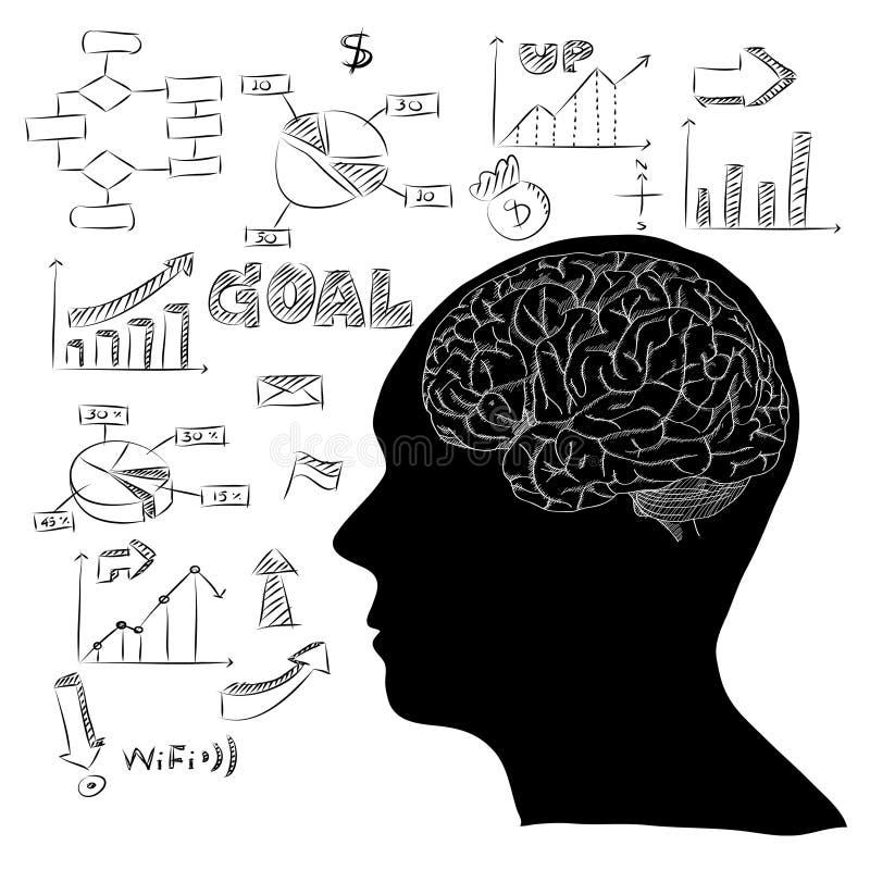 Ludzki Mózg z Infographic diagramem dla biznesu i technologii pojęcia Wektorowego konturu Kreślącego Up ilustracji