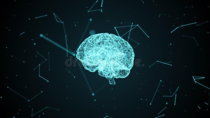 Ludzki mózg z neural komórkami tworzył cząsteczkami wśrodku cyfrowej cyberprzestrzeni ilustracji