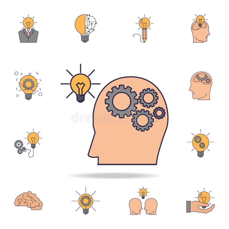 ludzki mózg z przekładniami łączyć żarówki fild koloru ikona Szczegółowy set koloru pomysłu ikony Premia graficzny projekt Jeden ilustracji