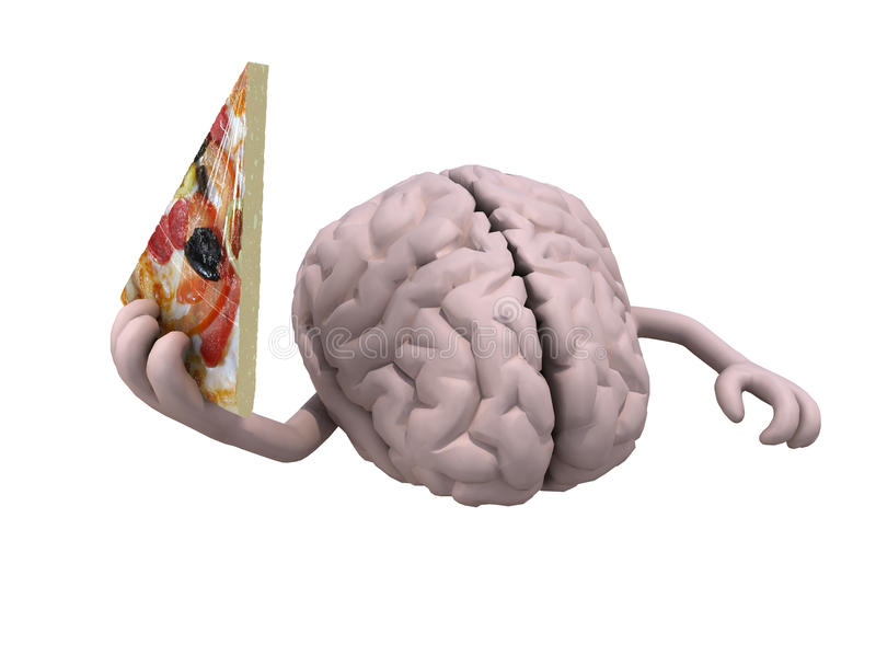 Ludzki mózg z rękami i plasterek pizza ilustracji