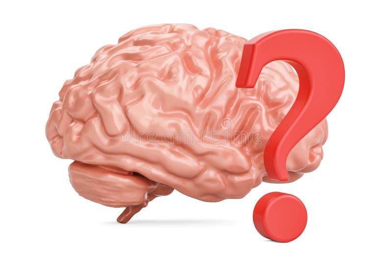 Ludzki mózg z znakiem zapytania, 3D rendering ilustracji