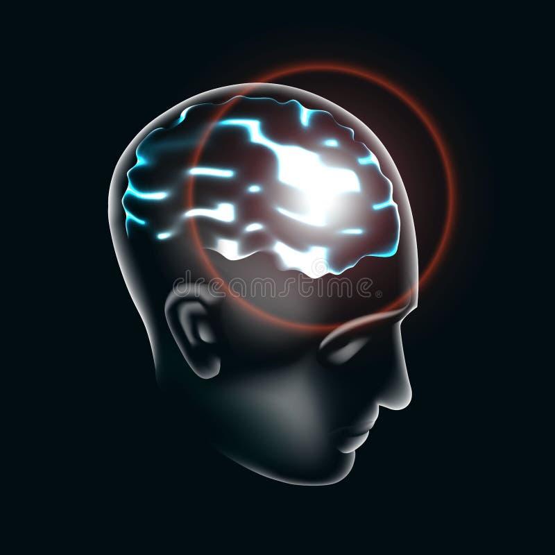 Ludzki mózg zaświeca up w 3d ilustraci ilustracja wektor