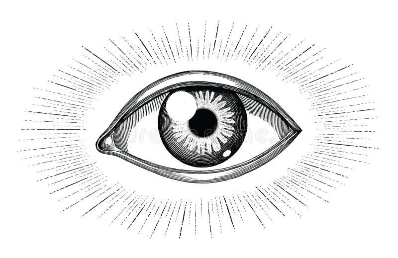 Ludzki oko z promienia tatuażu ręki remisu rocznika rytownictwem odizolowywającym na białym tle ilustracji