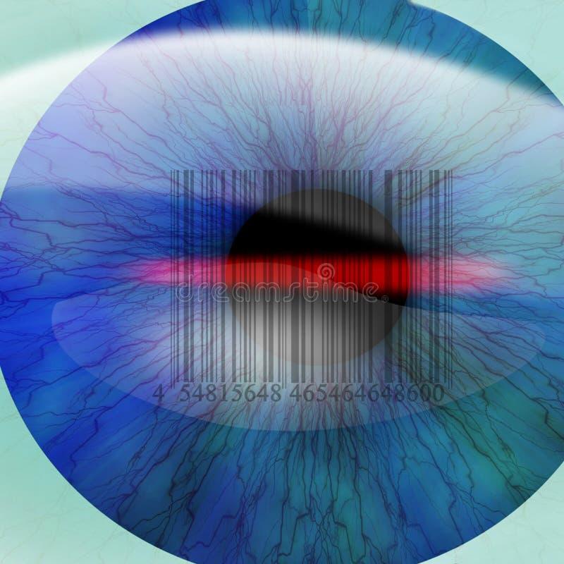 Ludzki oko z zintegrowanym barcode ilustracja wektor